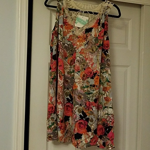 1a9f6f01eb Umgee Tops | Nwt Floral Crochet Lace Tie Swing Dress Tun | Poshmark